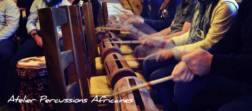 Atelier Percussions africaines, team building musical